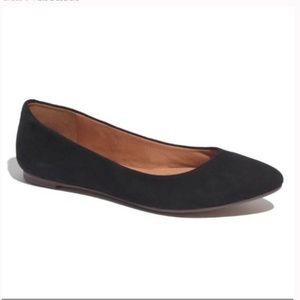 Madewell Black Suede Sidewalk Skimmer Flats - 9